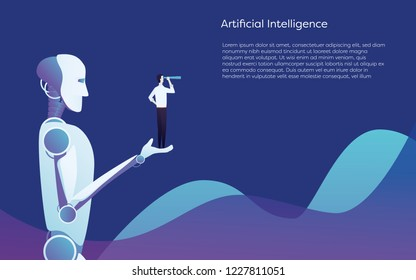 Artificial intelligence robot helping human - holding businessman in hand vector concept. Symbol of future technology, innovation and progress. Eps10 vector illustration.