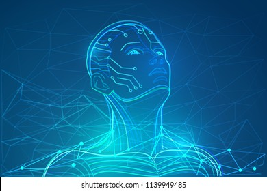 Artificial intelligence or robot with human face. Abstract digital world with neural networks. Vector illustration