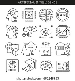 artificial intelligence and robot line style icons