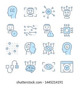 Artificial Intelligence, Robot machines and Technology related blue line colored icons.