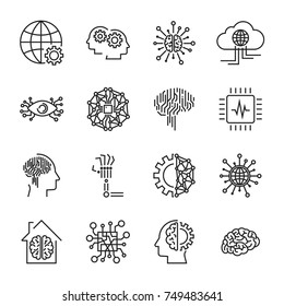 Artificial intelligence and robot related vector icon set. It contains icons such as: chip, chipping, hand, prosthetics, smart house, electron eye, brain, AI technology and others. Editable Stroke