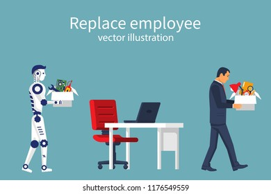 Artificial Intelligence robot replaces in the work of man. Turnover workers. Vector illustration flat design. Isolated on white background. Technologies replace people. Robotics industry.