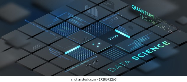 Künstliche Intelligenz und robotisches Quanten-Computing-Prozessorkonzept für Geschäftstechnik, Ingenieurwesen und Innovationsdesign. Eps10 Vektor-Abbildung