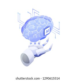Artificial intelligence, smart robot, conscious machine, innovative technology, hi tech innovation, scientific research in cybernetics. Robotic hand holding AI brain. Modern vector illustration.