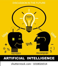 artificial intelligence, synergical communication, Effective communication between robot/humanoid and human. head icon on yellow background