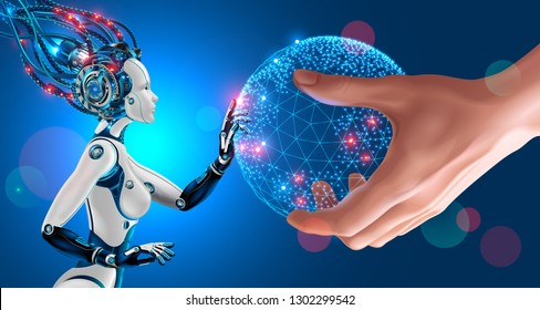 Artificial Intelligence takes control of the infrastructure of entire planet. Man stretches the globe in the palm of his hand to a humanoid robot with cybernetic AI brain connected to supercomputer.