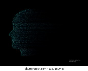 Artificial intelligence technology concept human head shape with light dots particles blue color on black background. Vector in concept technology, communication, digital, ai, science.