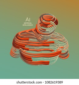 Artificial intelligence. Technology and engineering concept. 3d model of man. Vector illustration. Wire connection to virtual reality.