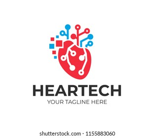Artificial intelligence and technology, human heart with digital pixels and circuits electronics grid, logo design. Technology CPU Mind and communications, vector design and illustration