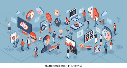 Artificial intelligence technology isometric 3d icons infographics with people, digital vector advert