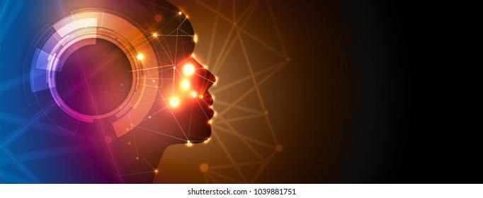 Artificial intelligence. Technology web background. Virtual hexagon concept