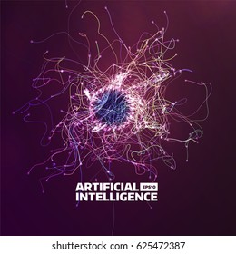 artificial intelligence vector background. Turbulence flow trail. Futuristic ai illustration