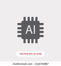 Artificial intelligence vector icon, ai symbol. Linear style sign for mobile concept and web design. Artificial intelligence symbol logo illustration. vector graphics - Vector.