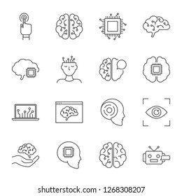 Artificial intelligence vector icons set