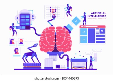 Artificial intelligence vector illustration in flat design. Brain, robots, computer, cloud storage, servers, robohand and other elements for infographic.