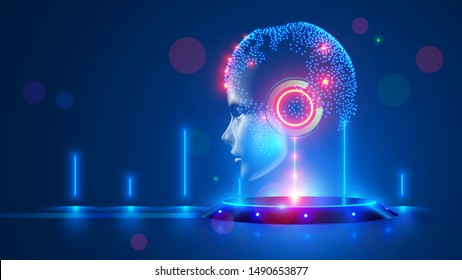Artificial intelligence with virtual hanging head on podium. Global world cybernetic mind controls humanity. Digital Brain with AI in the spotlight. Super computer. science futuristic concept.