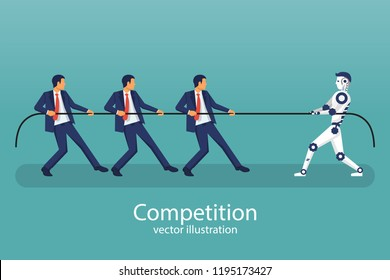 Artificial intelligence wins in strength and endurance team of people. Competitions of the future. One robot is stronger than humans. Tug of war as symbol of rivalry. Vector illustration flat design.
