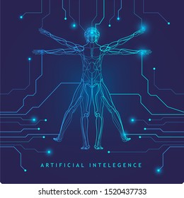 Artificial Intelligence.Human body. Homo vitruvianus. Classic proportion man. Vector illustration.