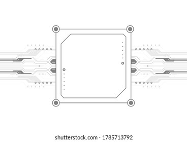 artificial intelligent computer template design, digital technology abstract background, microchip and circuit frame