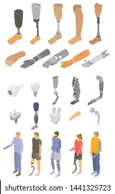 Artificial limbs icons set. Isometric set of artificial limbs vector icons for web design isolated on white background