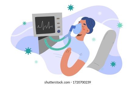 Artificial lung ventilation for covid patient, intensive care in hospital, woman infected by coronavirus in critical condition, vector illustration, cartoon character. Pulmonary ventilator