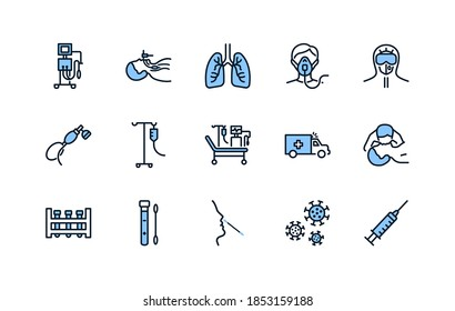 Artificial lung ventilation flat line icons set blue color. Vector illustration coronavirus test and medical equipment for covid-19. Nasal swab laboratory test, icu, oxygen mask, mouth-to-mouth