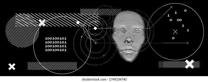 Artificial or machine intelligence concept. 3D silhouette of human head extruded from lines looking like graph of a function. Generative computer art.