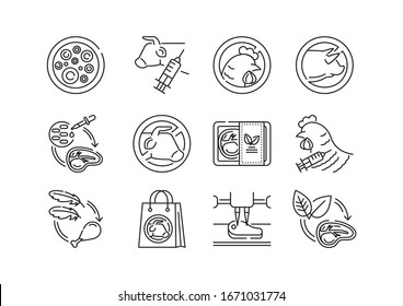 Artificial meat black line icons set. Cultured meat. Meat grown in cell culture instead of inside animals. Pictogram for web page, mobile app, promo. UI UX GUI design element. Editable stroke.