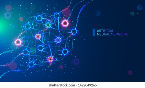 Artificial neural networks, ANN, connectionist systems. Abstract simple graphics scheme of neural machine mind with AI. Artificial intelligence, cybernetic net in computer learning. Science concept.