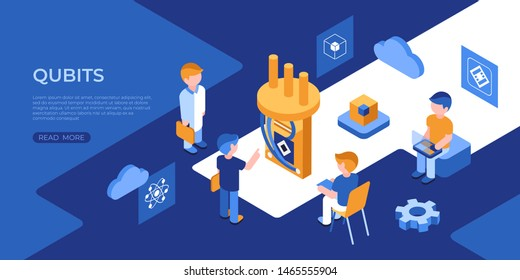 Artificial quantum computing and qubits technology isometric 3d icons infographics with people, digital vector advert infographics