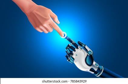 Artificial robot hand touch human hand. Symbol of connection and interaction, people and artificial intelligence. hands with index fingers. Science, future technology, progress, Industrial 4.0 concept