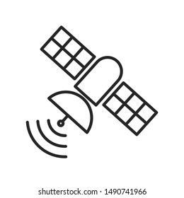 Artificial satelite in orbit around earth. Flat style. On white background. Thin line.
