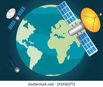 Artificial satellites fly around planet and monitor state of ecology, population and nature. Satellite antennas in space sending signals to Earth. Space objects are charged with solar panels