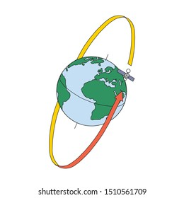 Artificial sattelite in orbit around earth. Flat style. On white background.