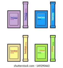 Artificial sweetener sachets: saccharin, aspartame,sucralose, and stevia.