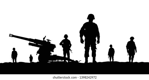 Artillery army troops silhouette vector
