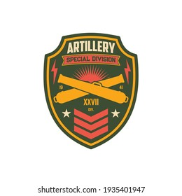 Artillery army unit to defense in battle, american fighting forces seal isolatd miitary chevron patch on uniform. Vector crossed bomb rockets, army division sticker with crossed swords, fire, thunders