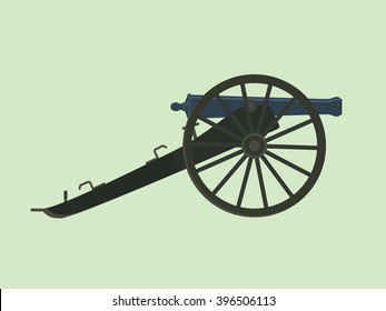 artillery civil war cannon isolated with green background