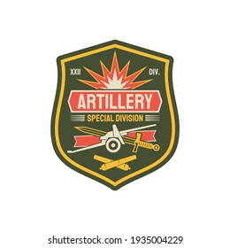 Artillery division military chevron with heavy machinery, sword and crossed rocket bombs. Vector american fighting forces seal, army officer rank patch on uniform, artillery unit to defense in battle