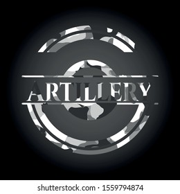 Artillery grey camouflaged emblem. Vector Illustration.