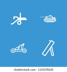 Artillery icon. collection of 4 artillery filled and outline icons such as cannon, catapult. editable artillery icons for web and mobile.