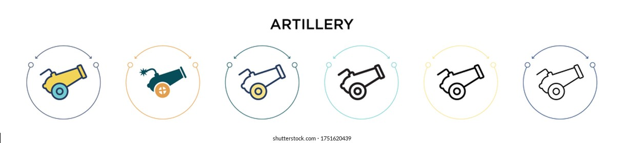 Artillery icon in filled, thin line, outline and stroke style. Vector illustration of two colored and black artillery vector icons designs can be used for mobile, ui, web