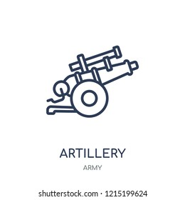 artillery icon. artillery linear symbol design from Army collection.
