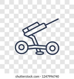 artillery icon. Trendy linear artillery logo concept on transparent background from army and war collection