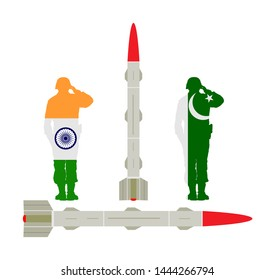 Artillery Launcher test vector illustration. India Missile Rocket with nuclear bomb against Pakistan nuclear power. War threat. Powerful army weapon for battle. Doomsday alert. Top secret for enemy