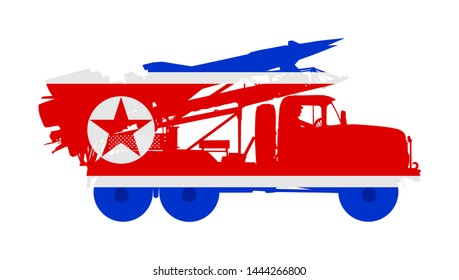 Artillery Launcher truck vector illustration. North Korea Missile Rocket carrier with nuclear bomb. War threat. Powerful army weapon for battle. Doomsday alert. Top secret treat for enemy.