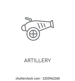 Artillery linear icon. Artillery concept stroke symbol design. Thin graphic elements vector illustration, outline pattern on a white background, eps 10.