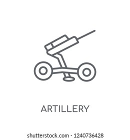 artillery linear icon. Modern outline artillery logo concept on white background from army and war collection. Suitable for use on web apps, mobile apps and print media.