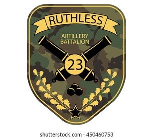 Artillery military emblem patch with cannons, ribbon and oak branch. Army chevron logo on comouflage background