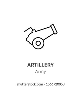Artillery outline vector icon. Thin line black artillery icon, flat vector simple element illustration from editable army concept isolated on white background